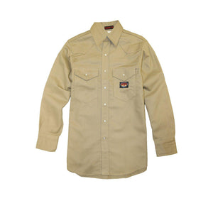 Rasco FR FR1004KH Khaki Snaps Heavyweight Work Shirt - Fire Retardant Shirts.com