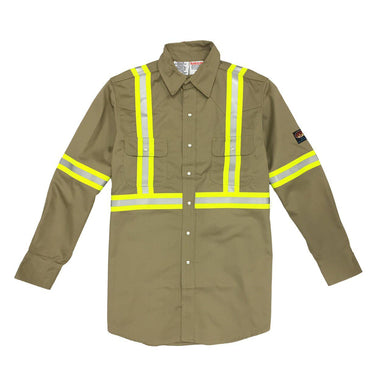 Rasco FR FR750-S Khaki Reflective Work Shirt
