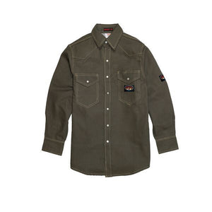 Rasco FR FR1004GN Green Duck Heavyweight Work Shirt - Fire Retardant Shirts.com
