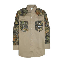 Rasco FR FR1103WC/KH Woodland Camo-Khaki Two Tone Work Shirts - Fire Retardant Shirts.com