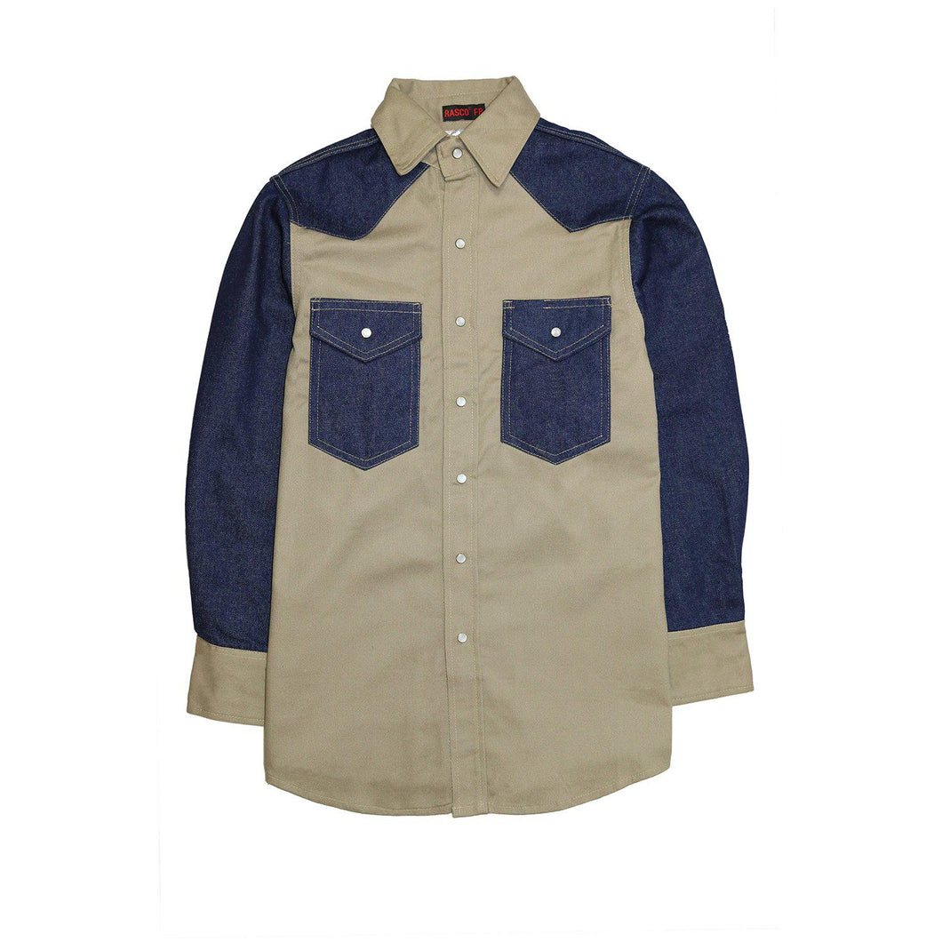 Rasco Non-FR KD1350 Khaki/Denim Two Tone Work Shirt