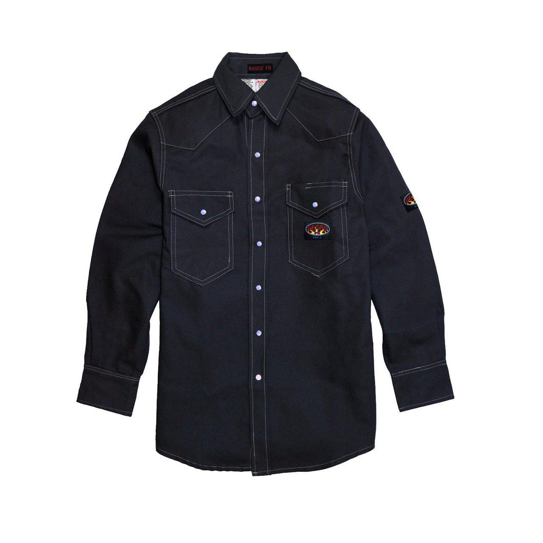 Rasco FR FR1004NV Navy Heavyweight Work Shirt - Fire Retardant Shirts.com