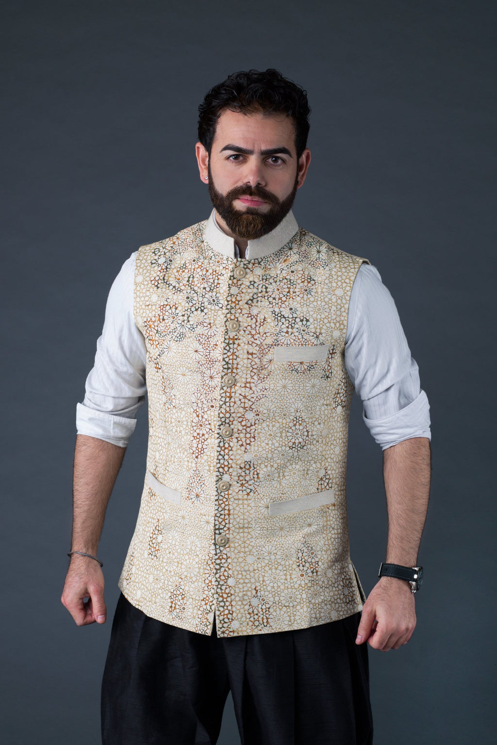 Versatility with the charm of shaded linen- block print waistcoat