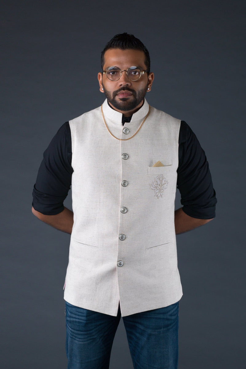 Off white linen classic waistcoat