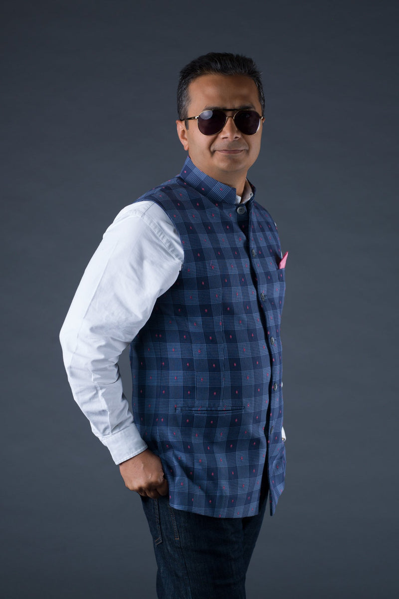 Chequered waistcoat for Men in Blue
