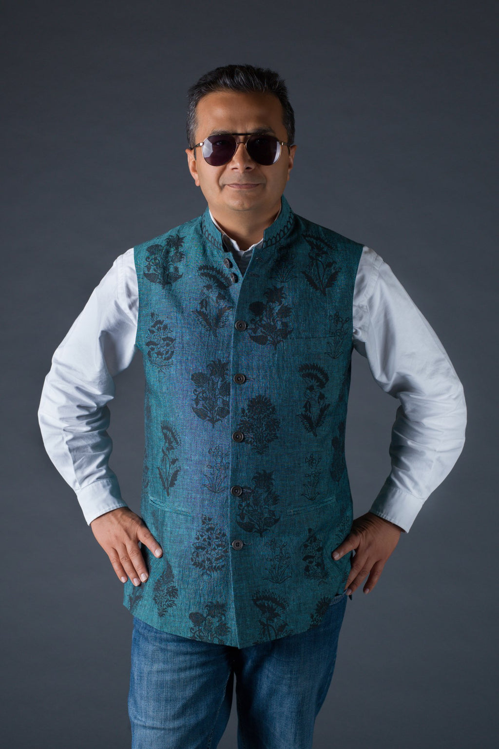 Blue linen fabric perfection - Block print waistcoat