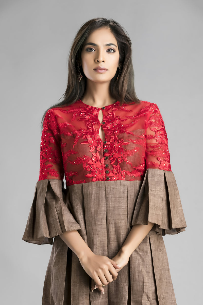 Chili Me-The Classic Red-Hot Lace and Raw Silk short dress