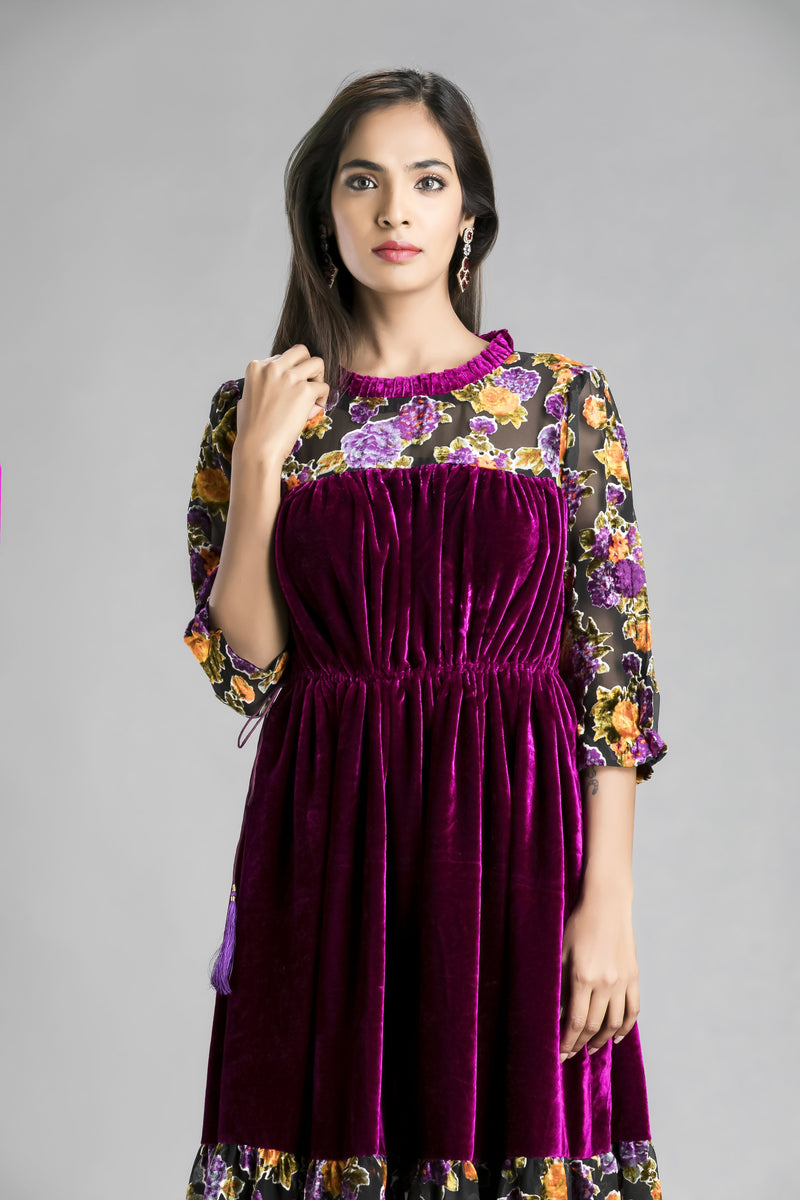 Purple Haze-Dipped in the sheen of velvet and floral design