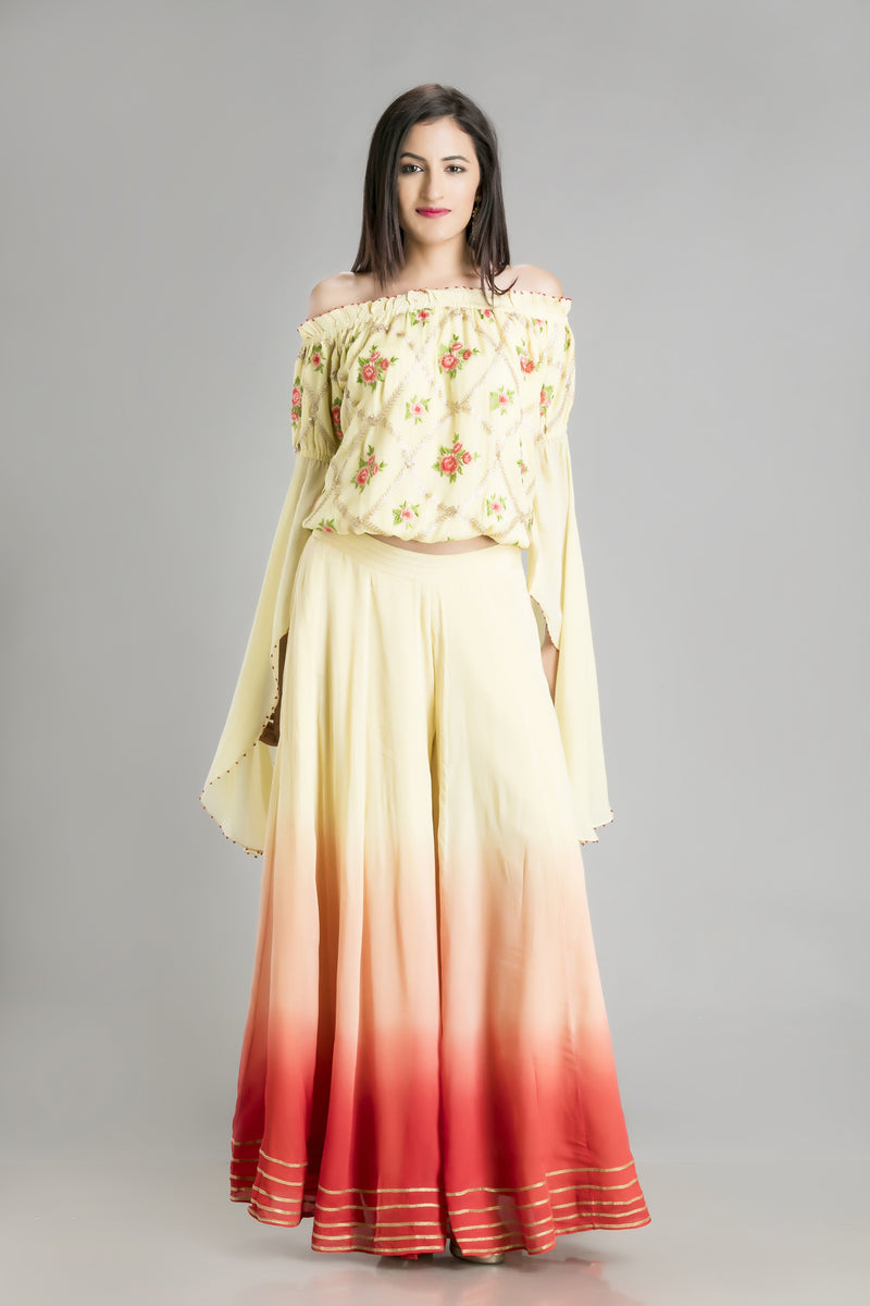 Bohemian Chic Sunset Coloured Skirt with off Shoulder Chiffon Embroidered Top