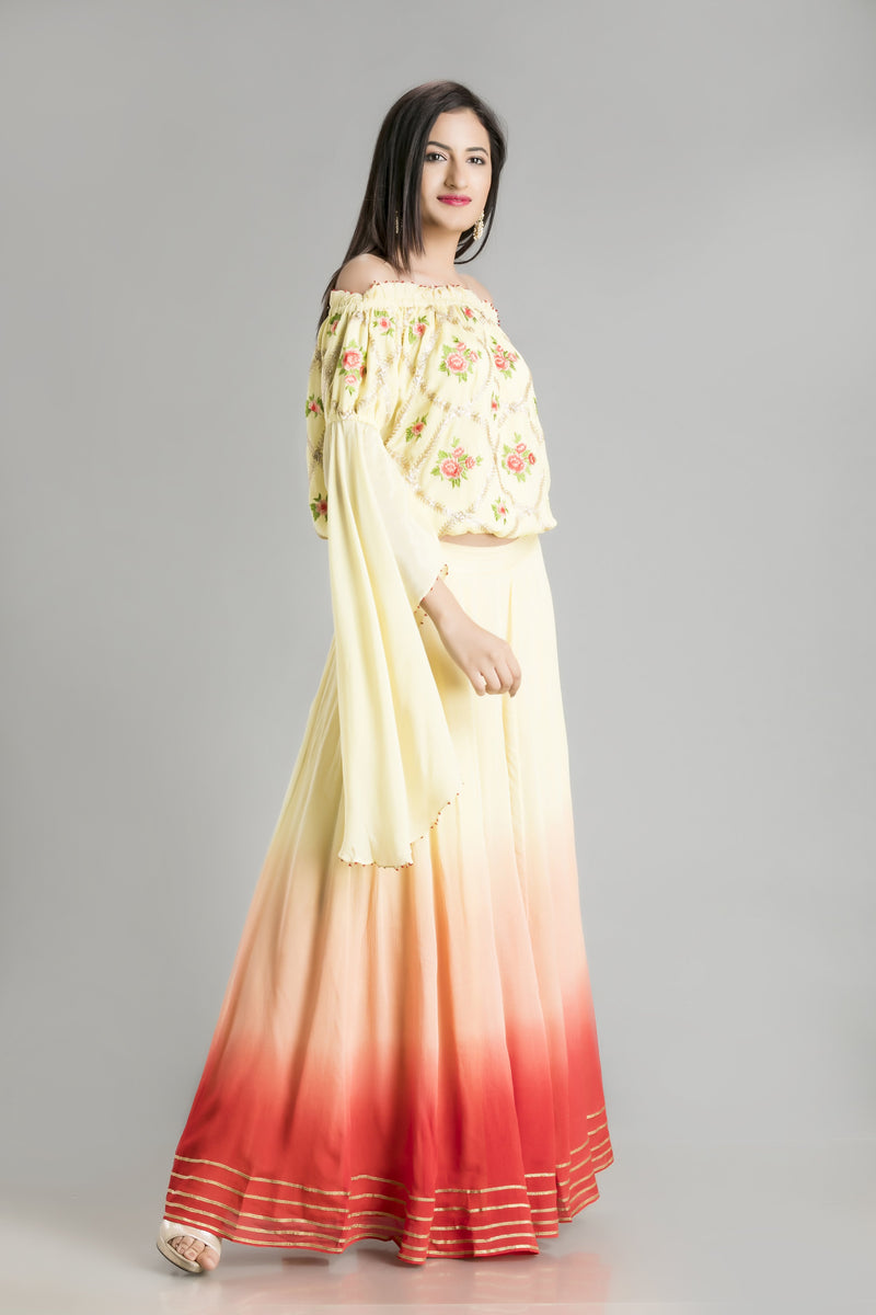 Bohemian Chic Sunset Colored Skirt with off Shoulder Chiffon Embroidered Top