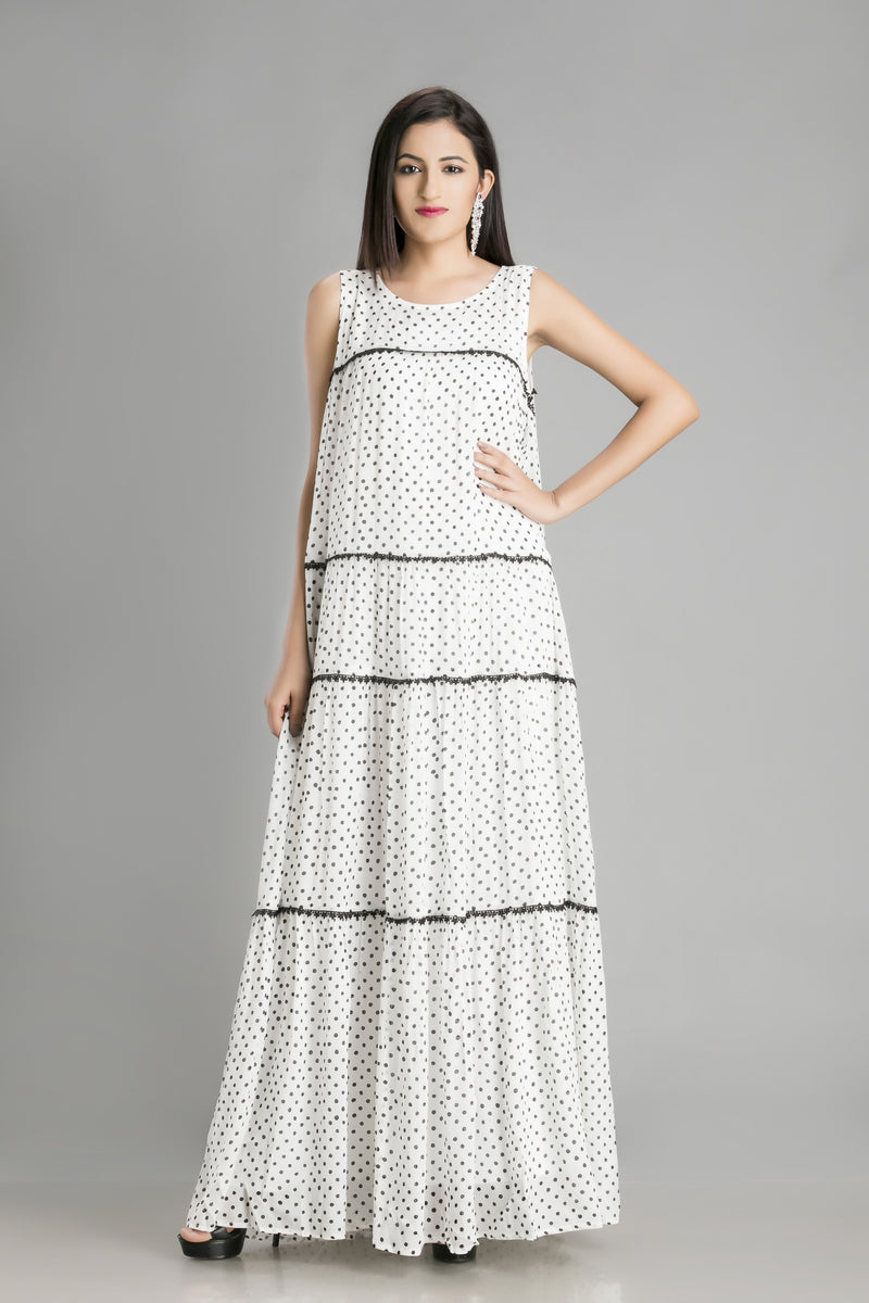 Pretty as a Polka tiered white chiffon dress