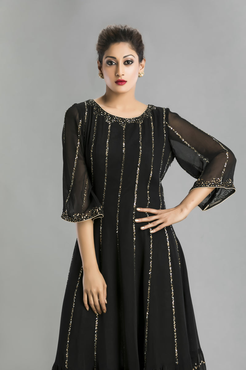 Nocturna-The Shimmering Black Chiffon Dress