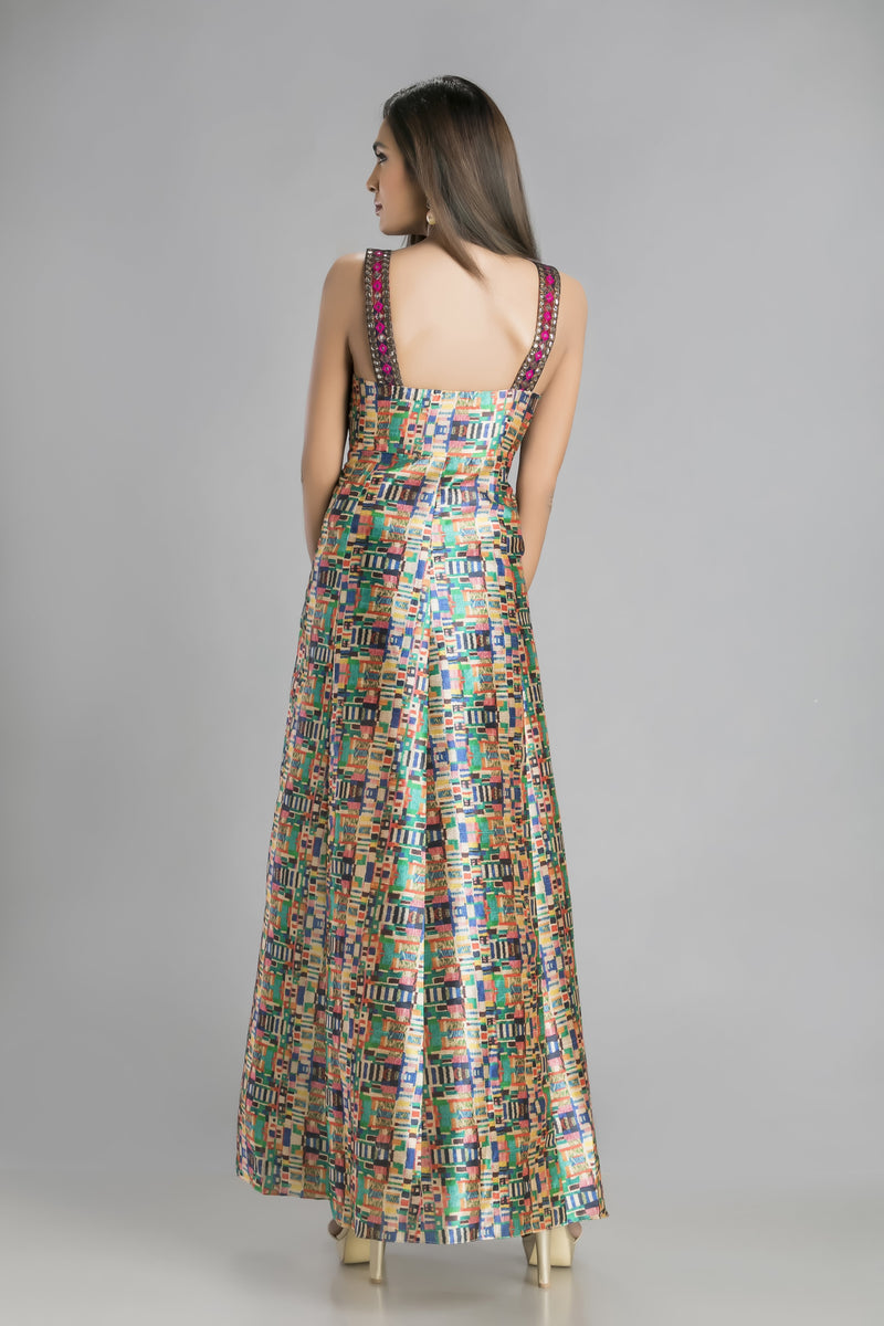 Super Sartorial Spaghetti Gown in soft flowing digital print and lace