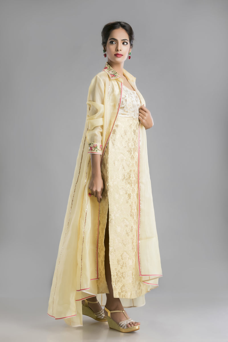 Soft Buttercup Yellow Gown and Cape Duo