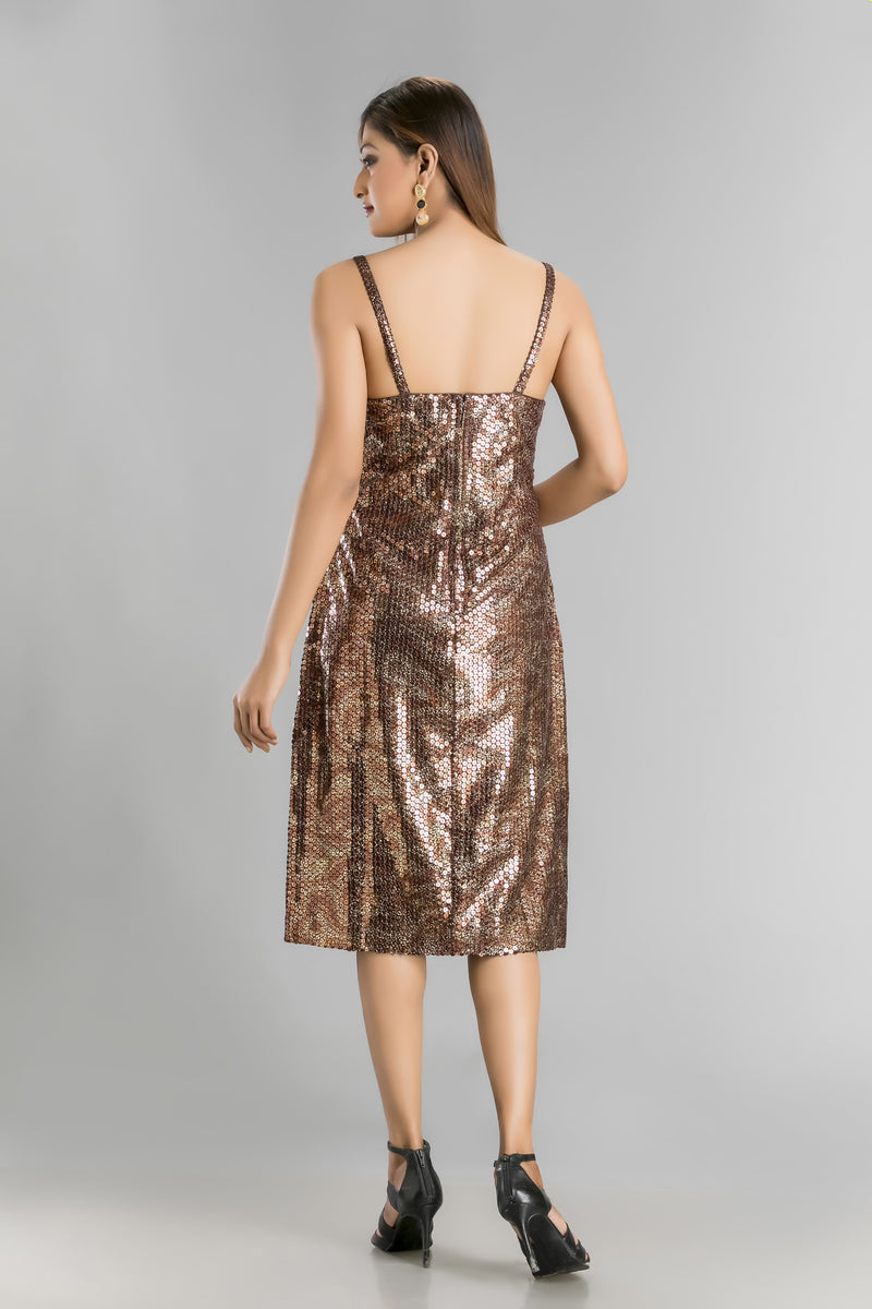 Bold in Bronze-The Sheer Jacket and Short Sequin Dress with Metallic Magic