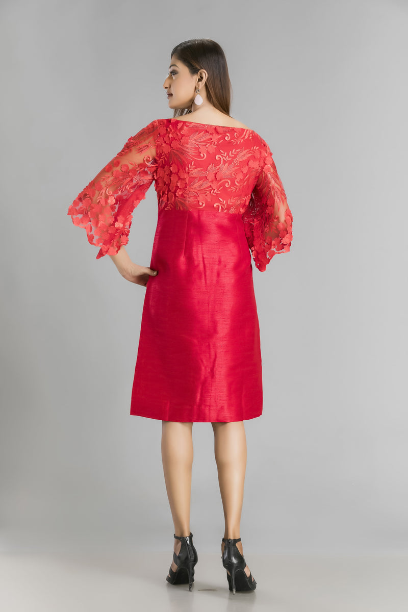 Scarlet Passion-A lace and silk short dress