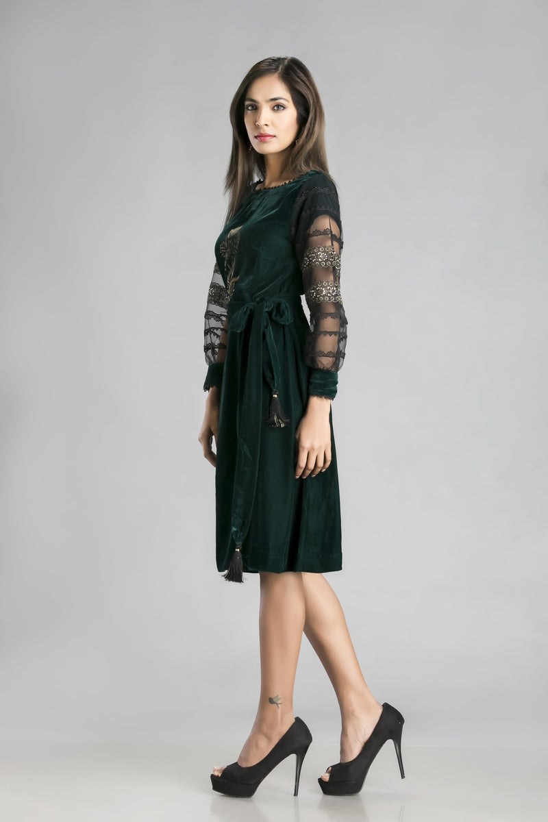 Venetian Romance-Rich Green Velvet Short Dress with a Mughal Motif