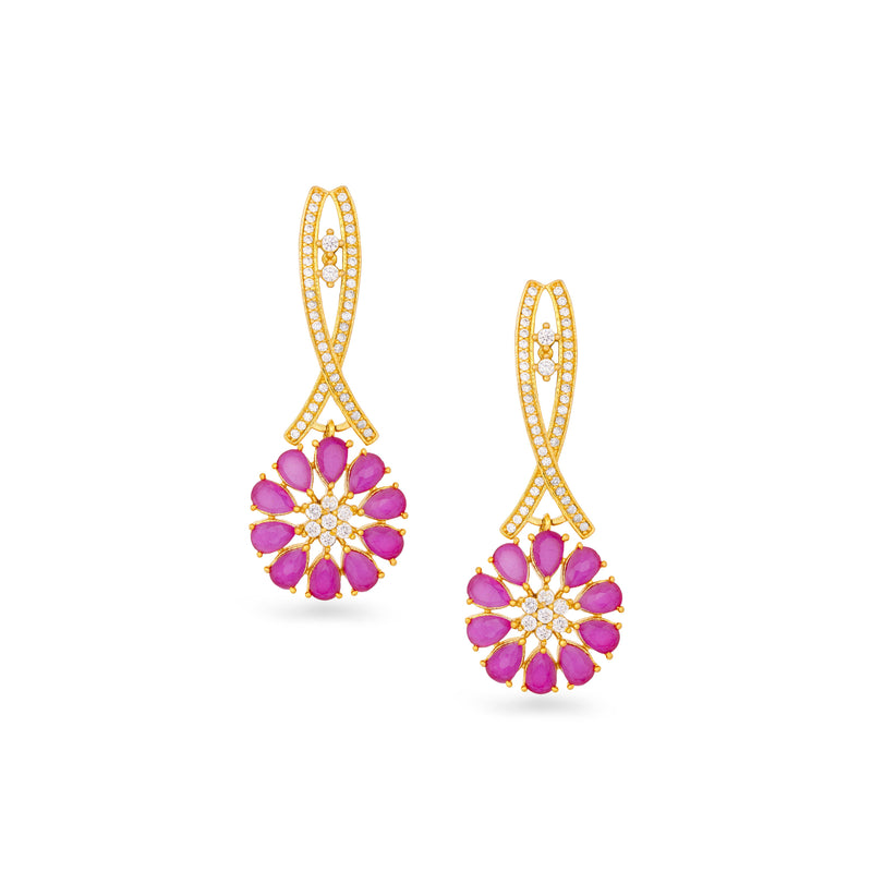Sleek Floral Pink Earrings