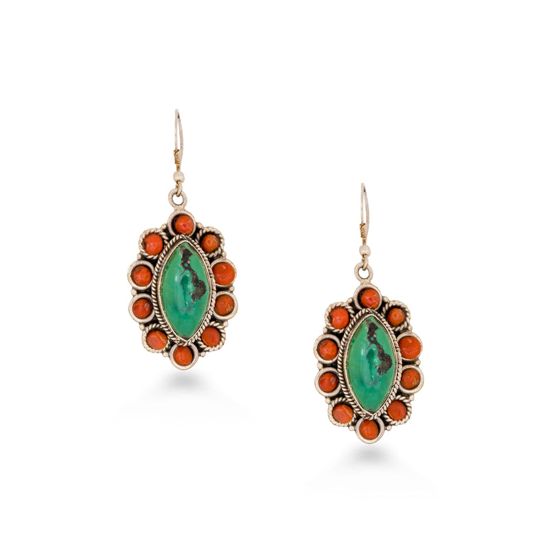 Oval Coral Turquoise Earrings