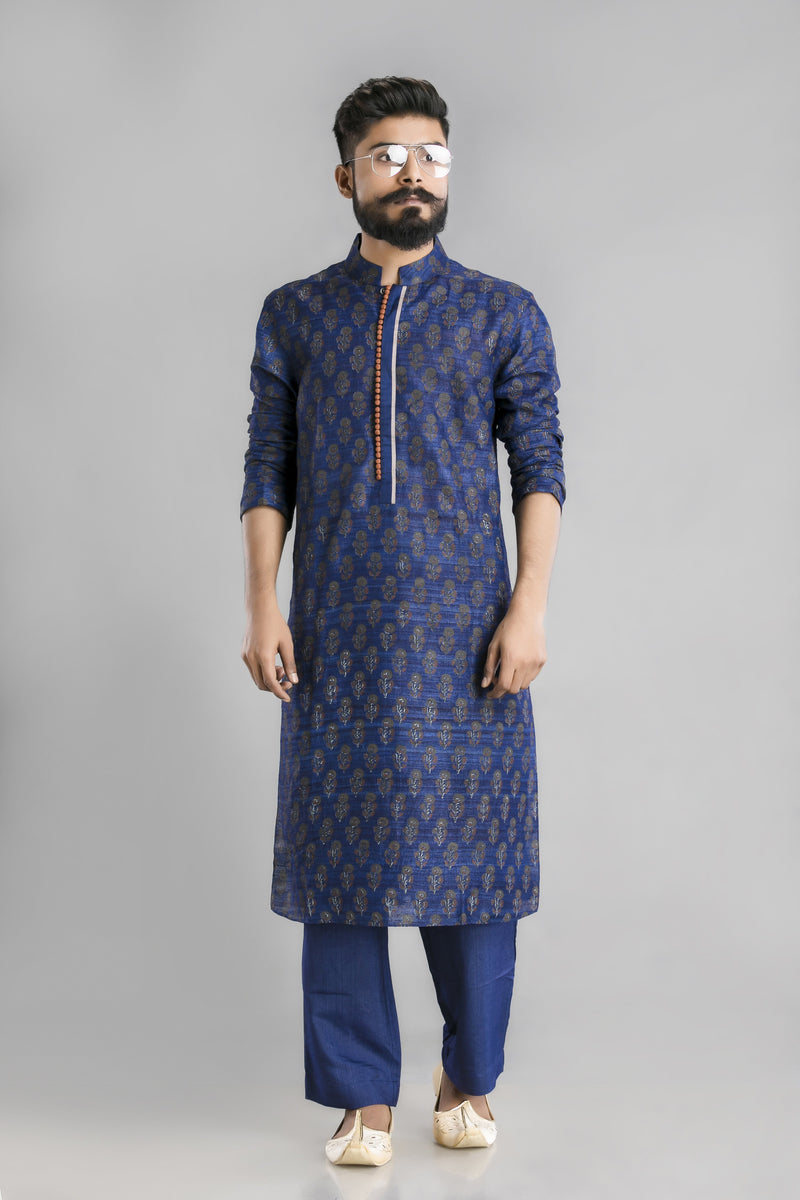 Navy blue tussar silk block printed mens kurta