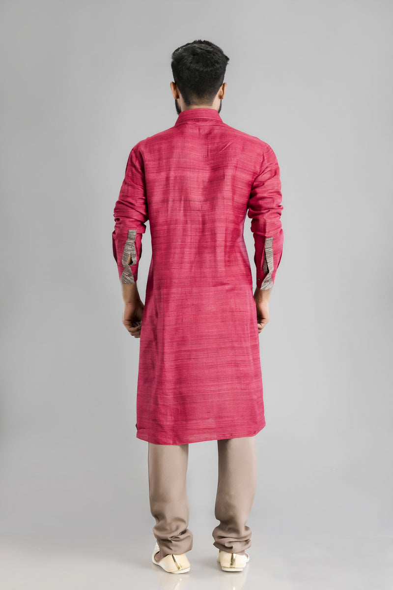 Organic Tussur Silk Kurta with a rust-brown cotton silk pant