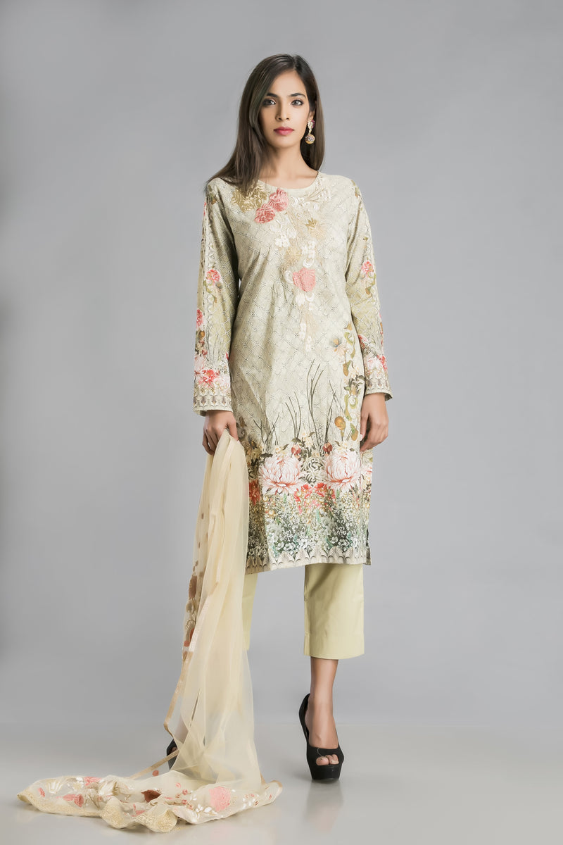 Gulistan-Soft mul suit set in freshest of green and florals for summer ease