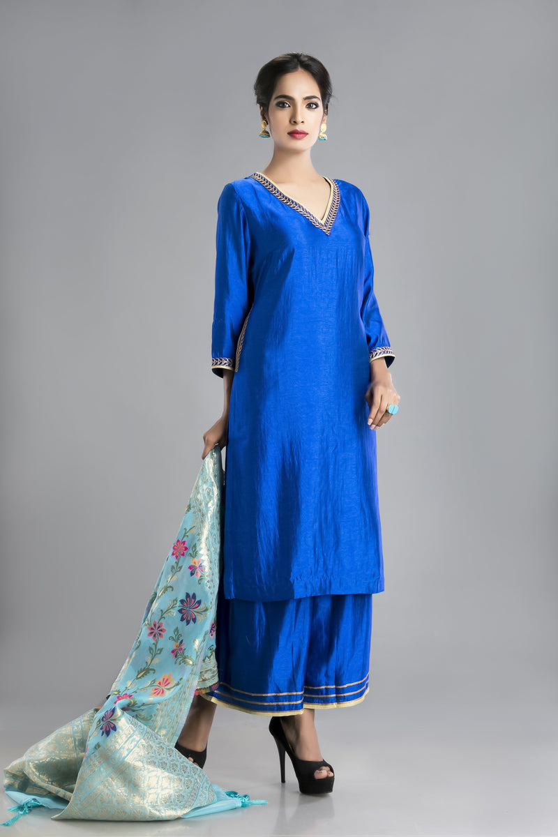 Neelam -Brilliant Blue Silk Suit with a Banarasi Dupatta