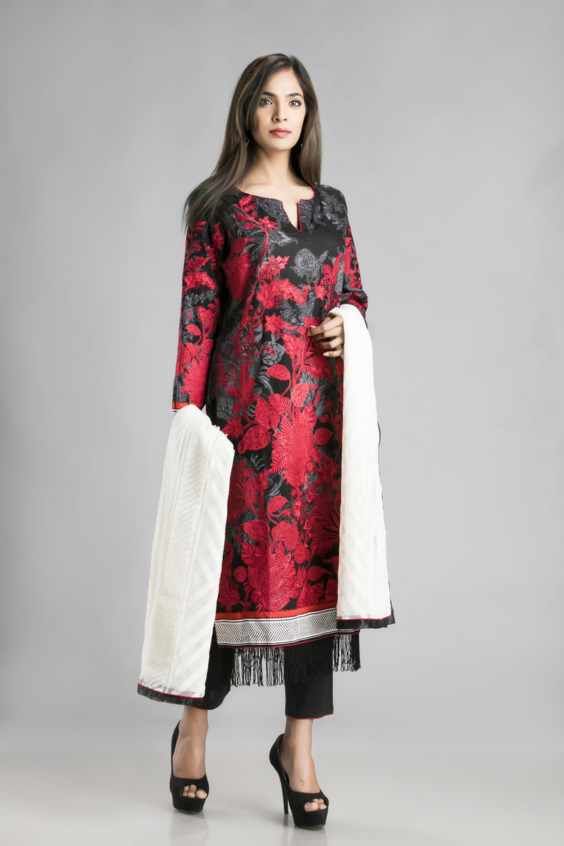Summery Soft Cotton Bold Print Suit in Black Red and White-for the casual you