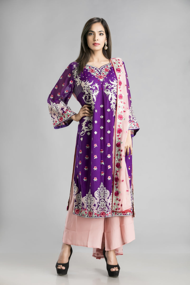 Lush-The play of pink and purple with the gorgeousness of resham and zari