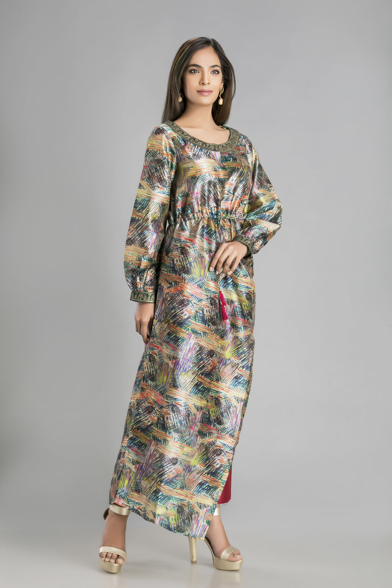 Busy Brush Print Blue Asymmetric Kurta- for the Bohemian in you