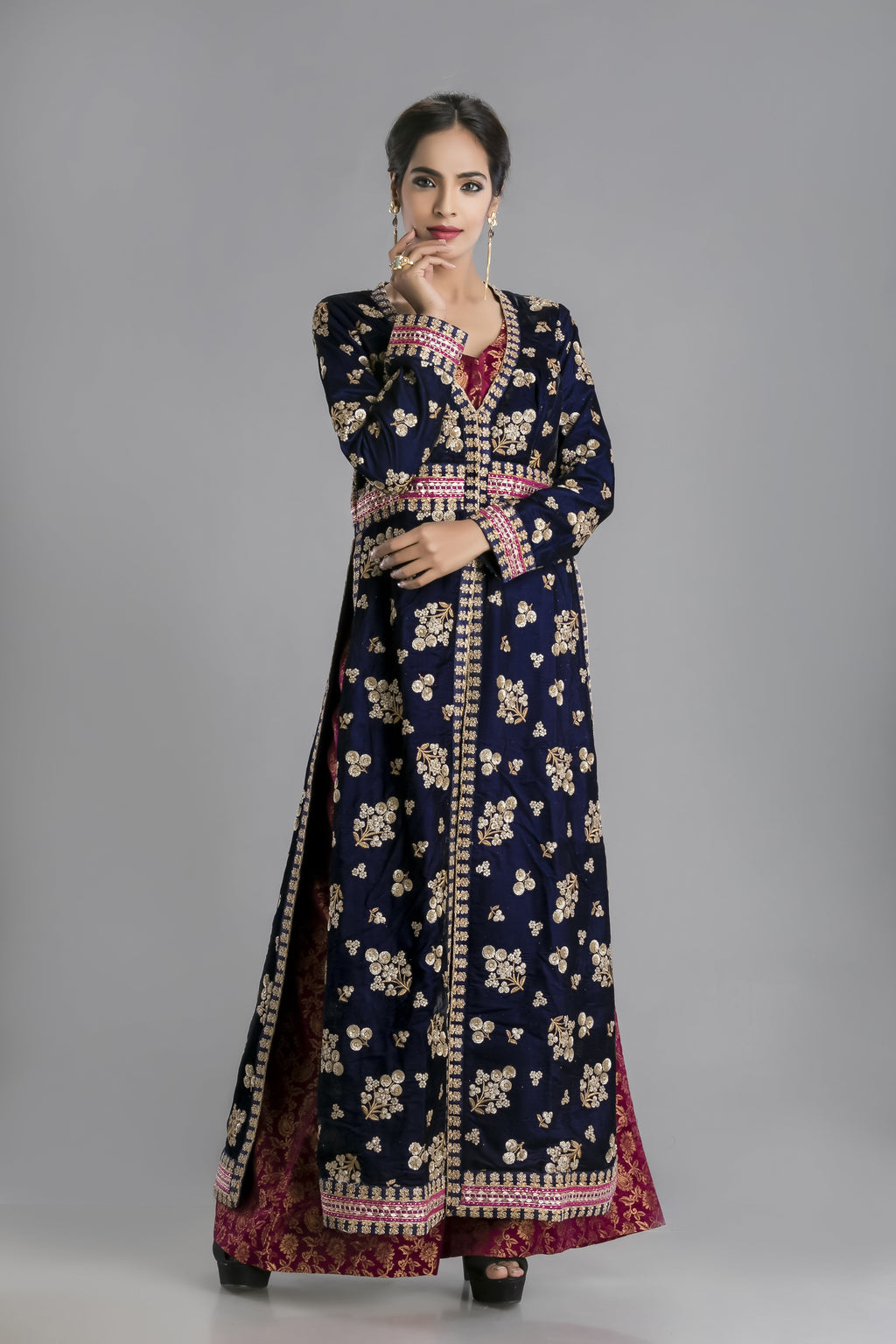 The Nile Blue Velvet Long Kurta Gown with Brocade Palazzo-The Glamour Edit