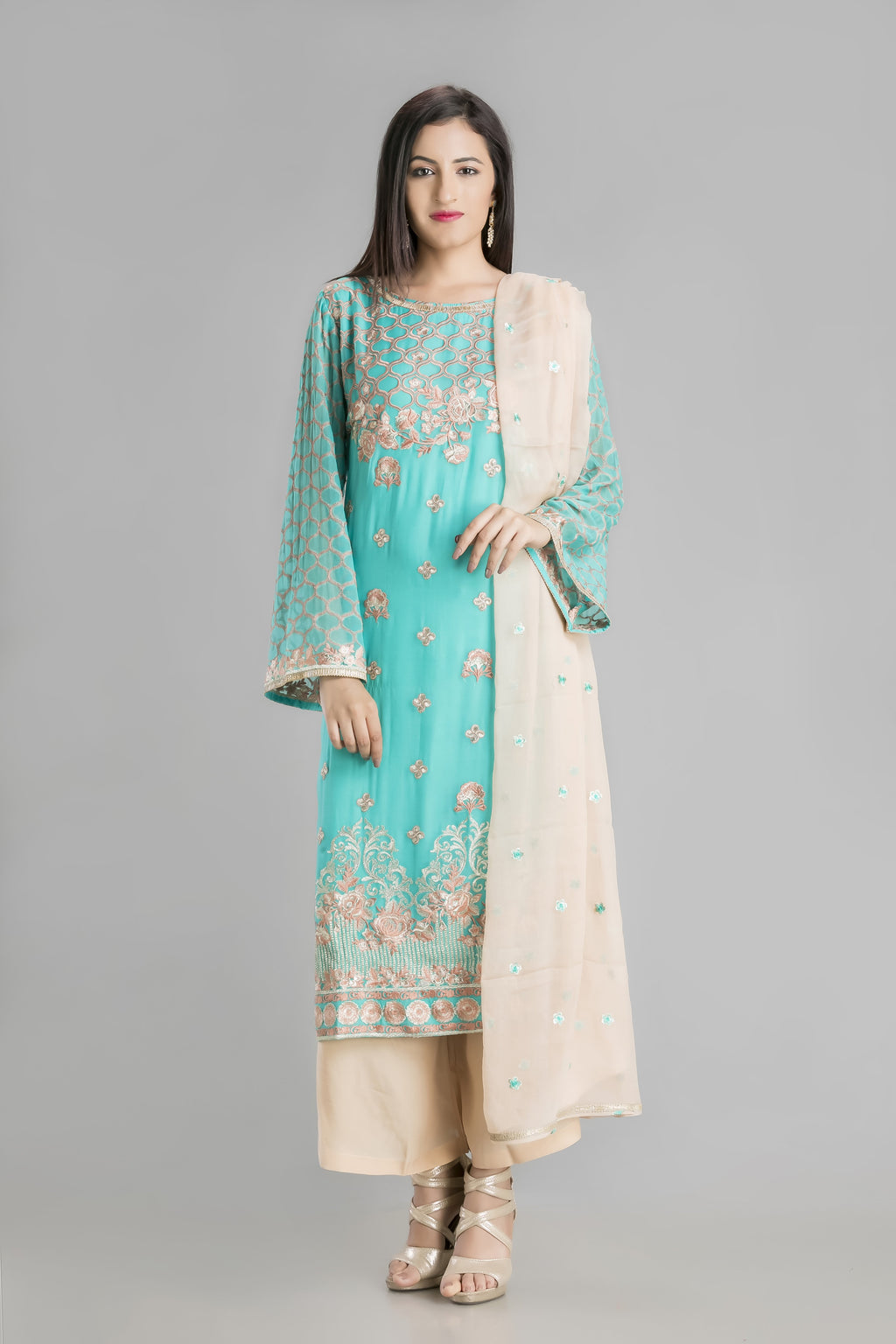Vibrant Aqua Allure Embellished Suit with Palazzo-For Fresh feel Summer Evening and Festive Nights