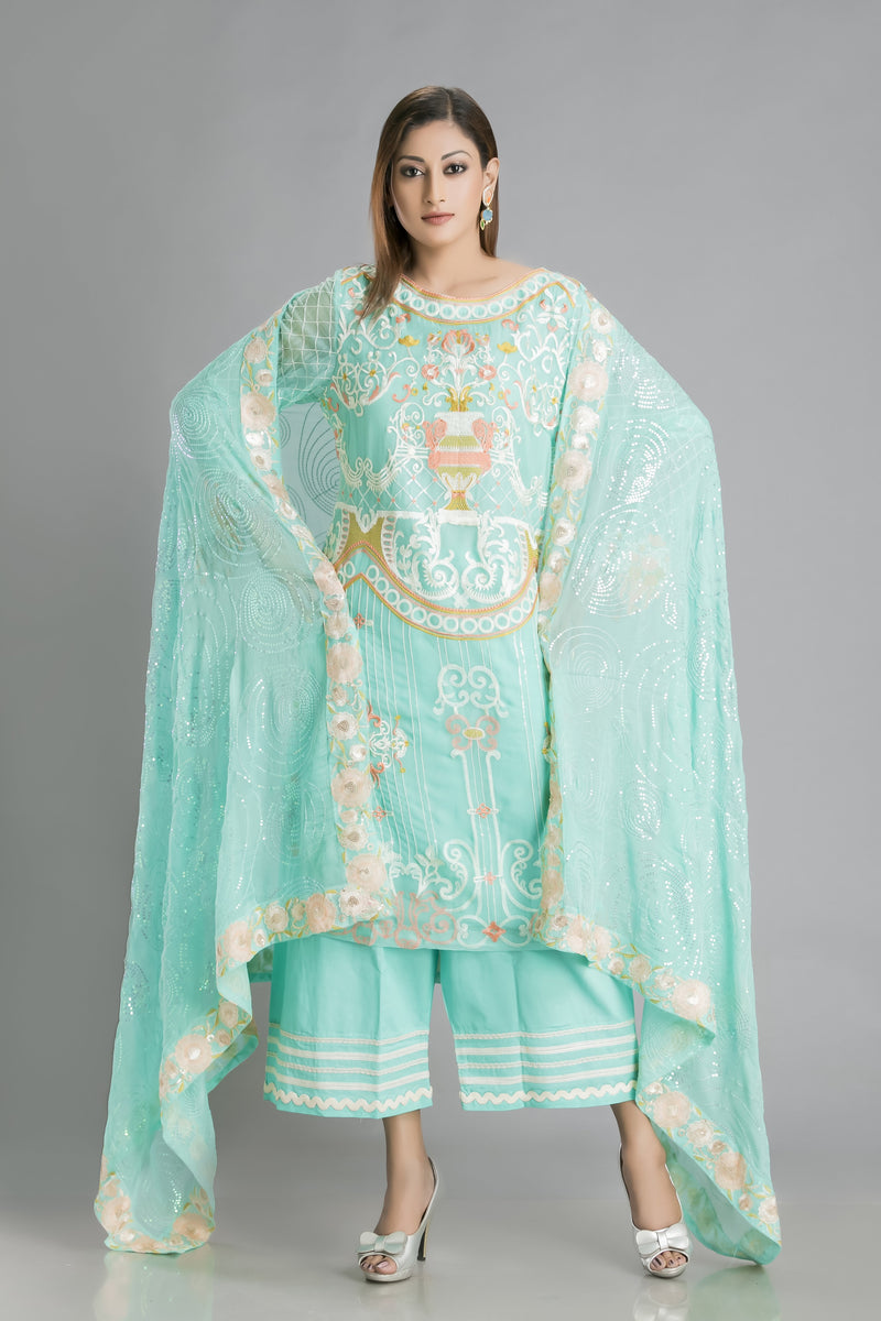 Akaashi-the Blue as Sky Chiffon Kurta with Resham embroidery