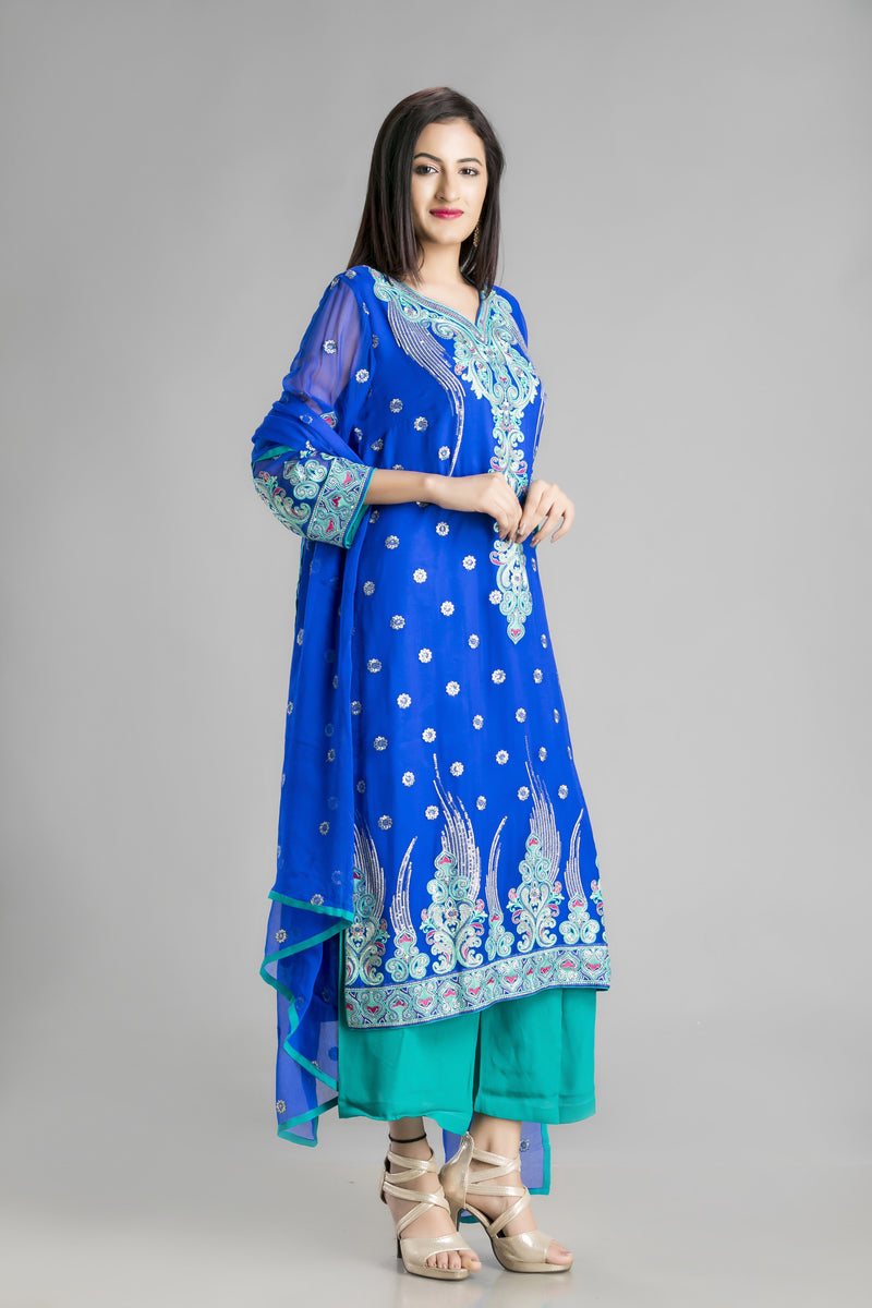 The Timeless Classic Suit in Vibrant Blue and Aqua-For the look of ethnic pride