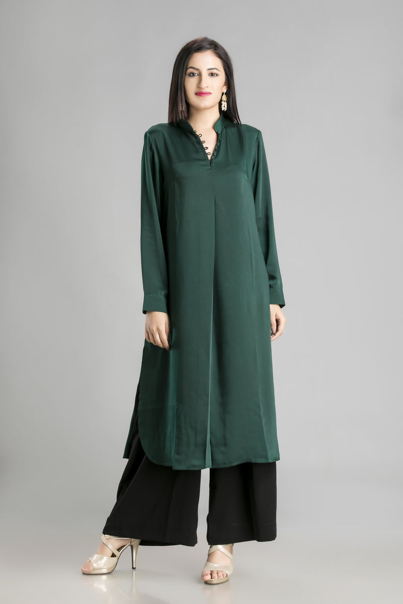 Cool Green as Jade crepe shirt and palazzo