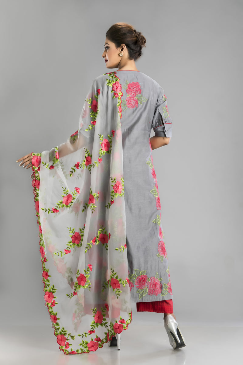 Ghata-Cloudy grey kurta and palazzo with a fantasy of floral resham work.