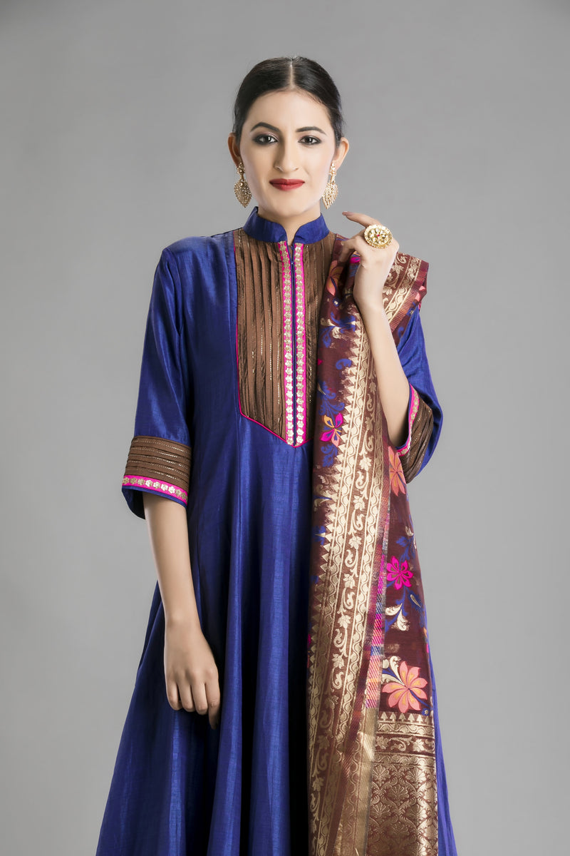 The Mughal Blue Anarkali with a rich brocade dupatta
