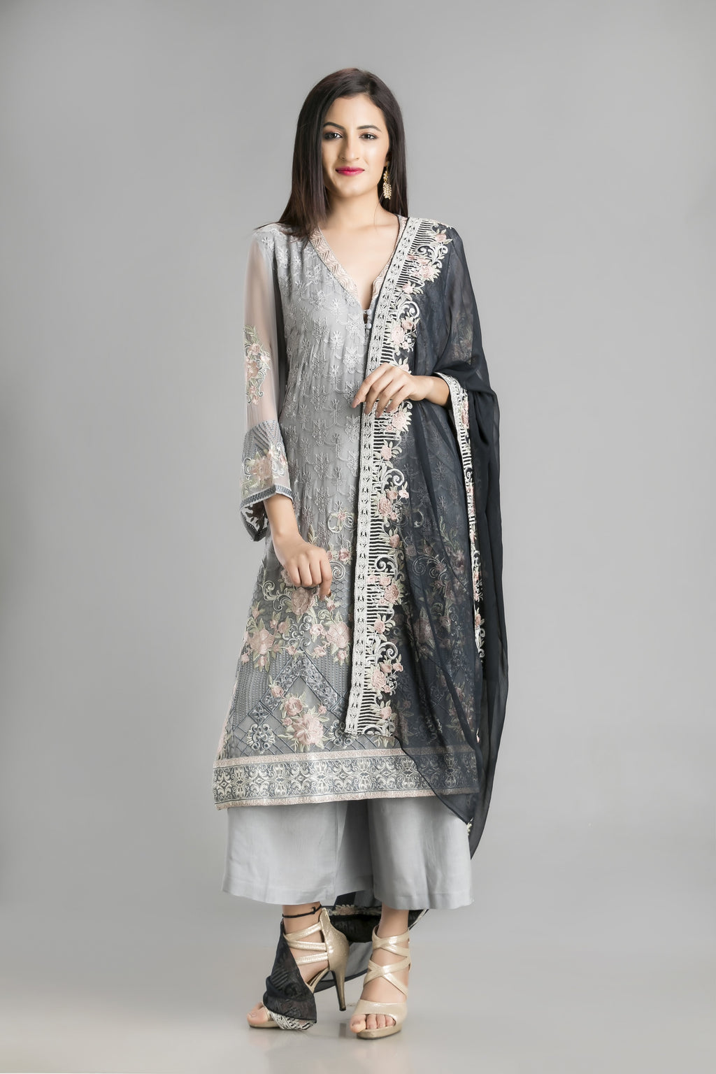 Aasmani – A Summer Sky Blue Palazzo Suit with a dark as cloud black dupatta