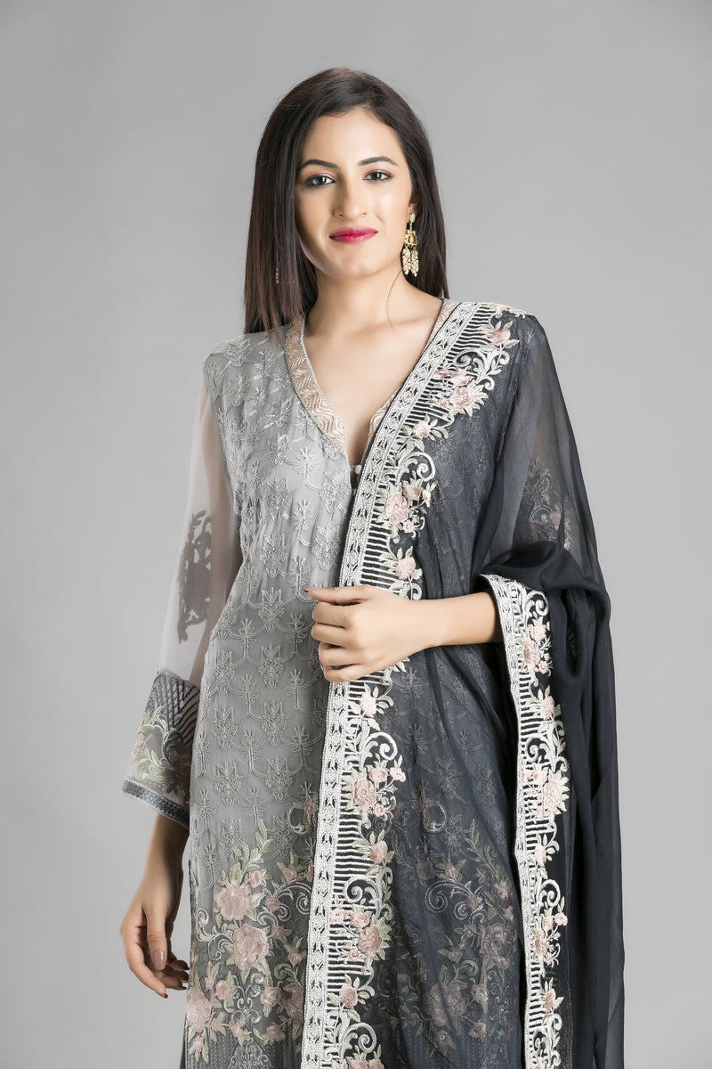 Aasmani – A Summer Sky Blue Suit with a dark as cloud black Dupatta
