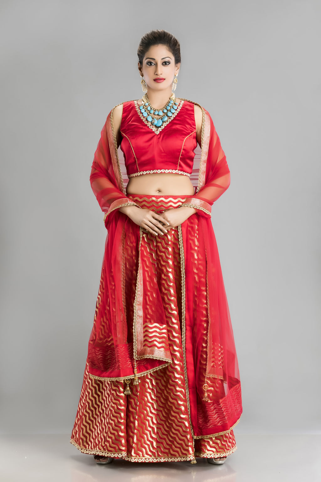 Ravishing in Red-the Bold Gold and red Lehenga
