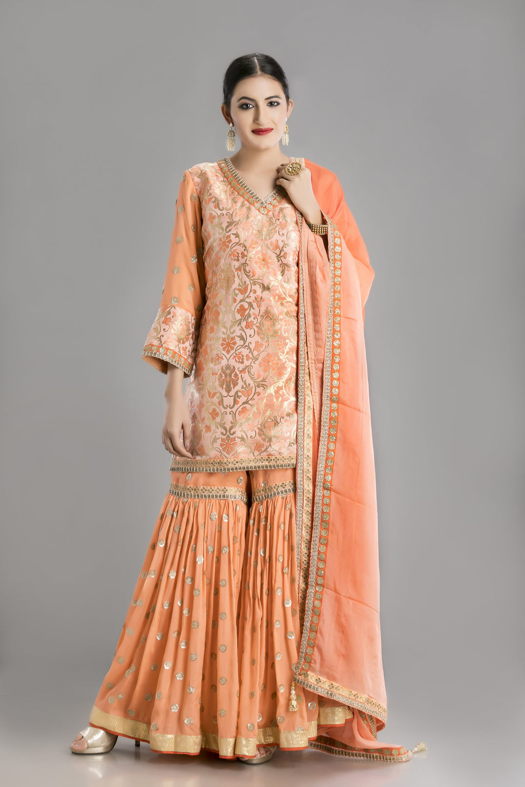 Nazaakat-The Peach Garara and banarasi kurti ensemble for a completely ethnic look