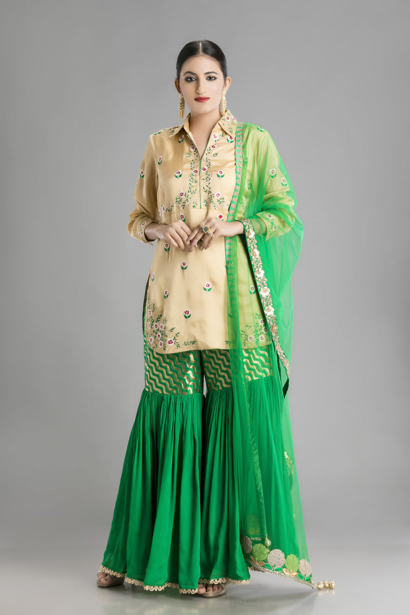 Retro Look Kameez Garara in rich green and Cream
