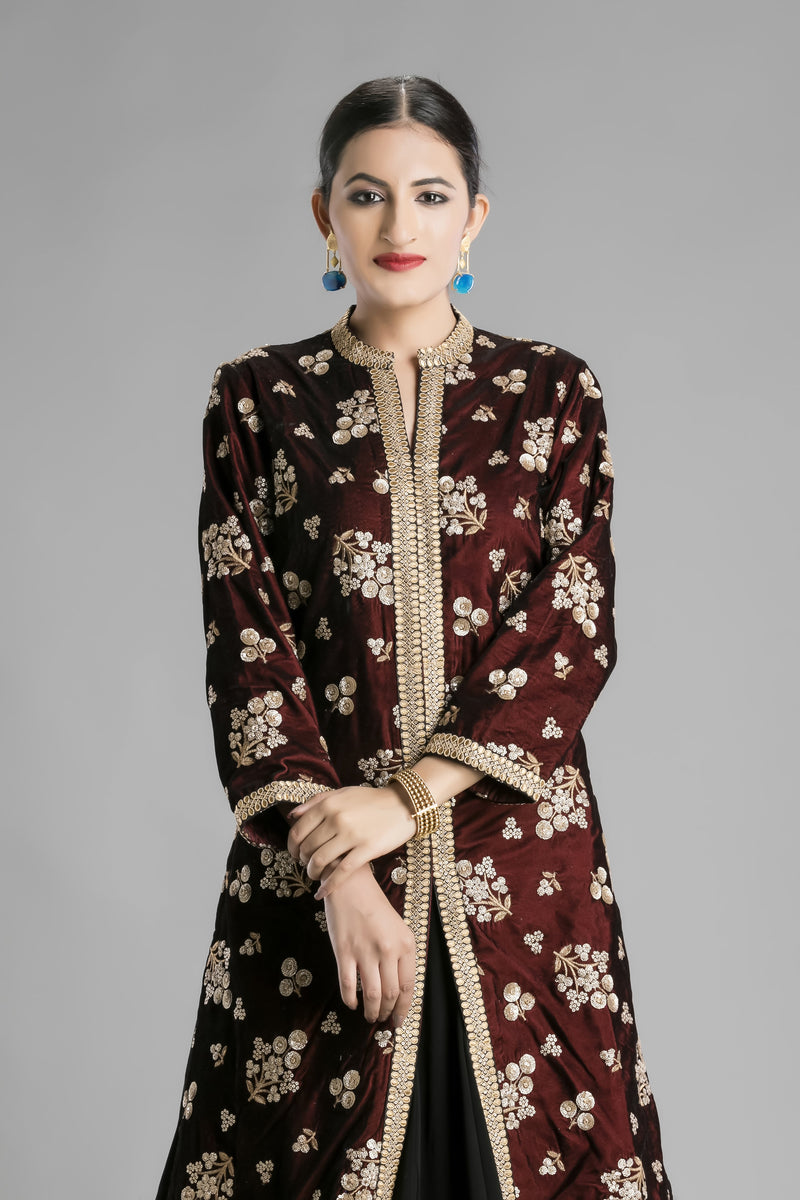 Deep Berry Jacket and a Black Lehenga duo for the Impeccable ethnic Look