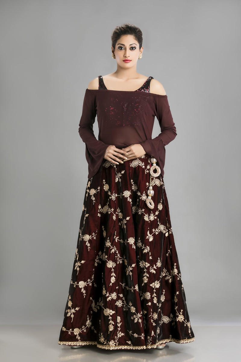 Bold in Burgundy - Western Lehenga for the style addict