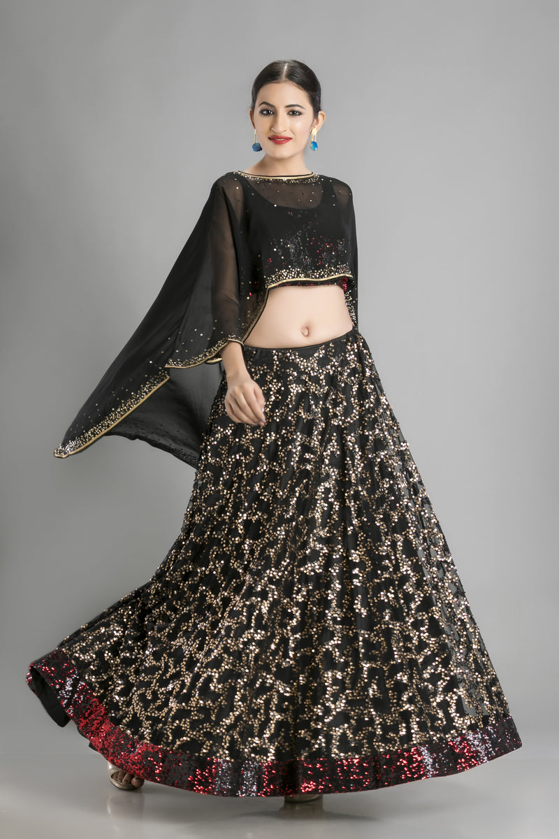 The Kohl Black Lehenga and Cape-For the sparkle that special evenings need