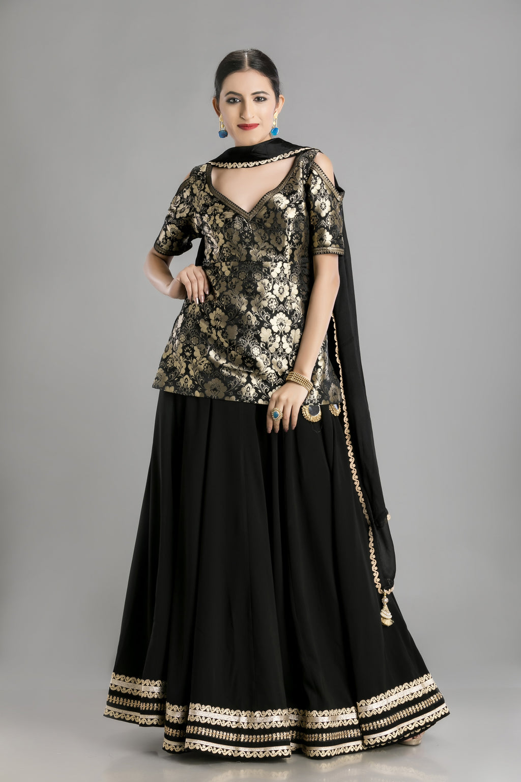 Midnight Muse-The Black and Gold Lehenga and Kameez
