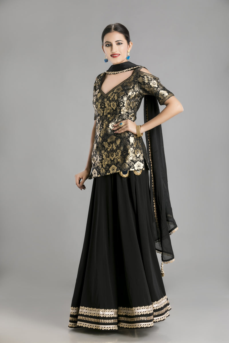 Midnight Muse-The Black and Gold Lehenga with Kameez
