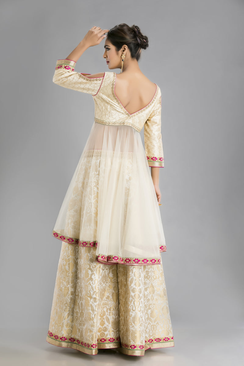 The Glamour Ivory Gold Sharara with a Sensational Ensemble Look
