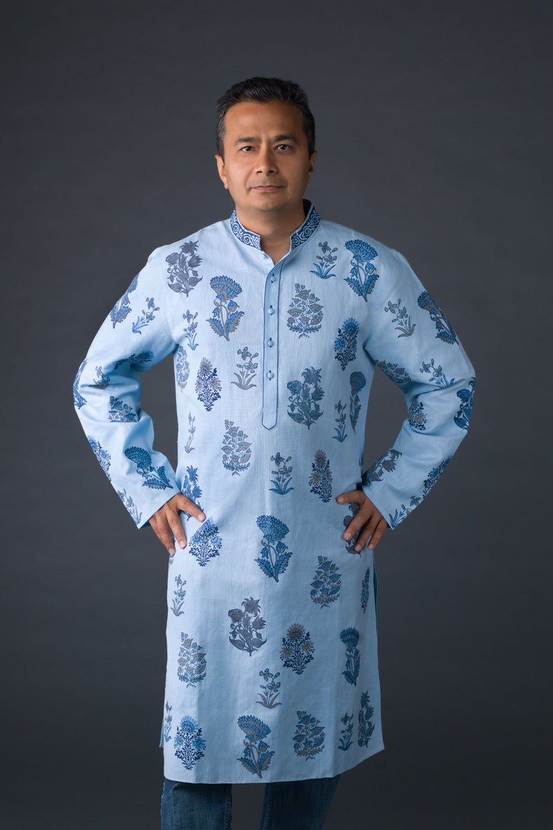 Light blue cotton mughal block printed kurta with off white cotton silk churidaar