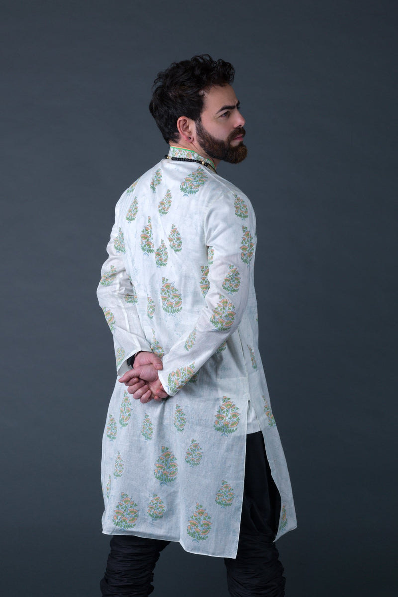 Off-white cotton with green and orange mughal buta block print kurta with off white cotton silk churidaar